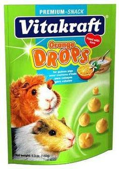 Guinea Pig Drops 5.3oz Pouch Orange 2pks, Vitakraft -  • A Treat That Has Important Minerals and Vitamins That Strengthens The Jaws and The Bone Structure  • A Treat That Is Fun and Gives Energy  • All With Added Vitamin C An Important Nutrient For Guinea Pigs  Vitakraft Vita - Guinea Pig Orange Drops are tasteful snacks that are full of nutrition for your little pets.