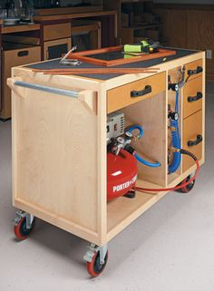Workshop storage plans, including shop cabinets and shelves, tool chests and stands, benchtop organizers, and more. Storage Cart, Tool Storage, Garage Storage, Woodworking Shop, Woodworking Plans, Woodworking Projects, Woodworking Jointer, Woodworking Workshop, Woodworking Classes