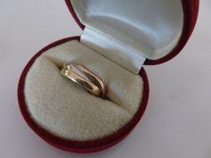 Vintage Italian 14K Triple Gold Wedding Ring, Marked 585 Italy FARO, 14 karat Russian Style Italian Wedding Ring, 14ct Triple Wedding Ring by MuskRoseVintage on Etsy