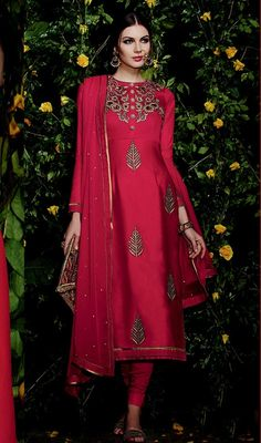 Strut around like a diva, sporting this red color embroidered satin churidar kameez. Beautified with resham and stones work. #SexyRedChuridarSalwarKameez