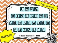 FREEBIE --- 2 crossword puzzles for your students to practice long division in a fun way! These puzzles will take them a long time to complete. Sixth Grade Math, Fourth Grade Math, Crossword Puzzles, Maths Puzzles, Division Math Games, Long Division Activities, Professor, Math School, Math Intervention