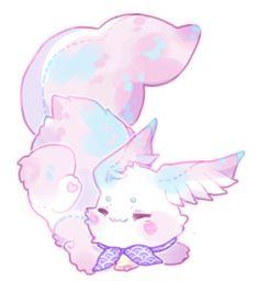 [Closed] Cotton Candy Scribblin by moonbeani on DeviantArt Cute Kawaii Animals, Cute Animal Drawings Kawaii, Kawaii Art, Cute Fantasy Creatures, Mythical Creatures Art, Cute Creatures, Anime Character Drawing, Character Art, Character Design