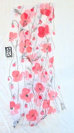Seta sciarpa dipinta a mano regali per lei di SilkScarvesTakuyo