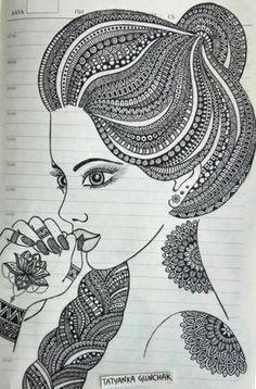 zentangle by Tatyanka-Gunchak on DeviantArt - it& just a page in my work notebook :] by Tatyanka-Gunchak - Art Drawings Simple, Art Painting, Indian Art Paintings, Madhubani Art, Mandala Design Art, Art, African Art Paintings, Zen Art, Art Drawings Sketches Simple
