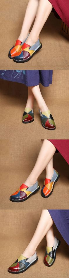 US$34.46 SOCOFY Handmade Splicing Leather Flower Soft Flat Loafers