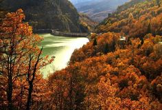 Autumn in Greece – The Dam at Lake Plastira Autumn Nature, Autumn Trees, Seasons In The Sun, Places In Greece, Parthenon, 10 Picture, In Ancient Times, Countries Of The World, Mykonos