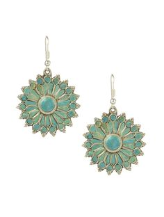 Turquoise Ethnic Floral Earrings