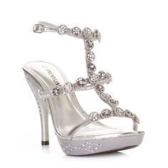 d8d2918442c Womens Silver High Heel Ankle Strap Evening Wedding Prom Shoes Silver High Heels