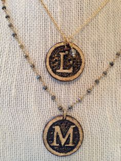 Marcasite rosary style chain with wood burned initial pendant on Etsy, $72.00