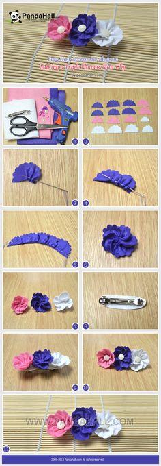 Easy Hair Accessories Ideas on Making a Triple Flowers Hair Clip