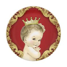 Fancy Red and Gold Prince Baby Shower 7 Inch Paper Plate