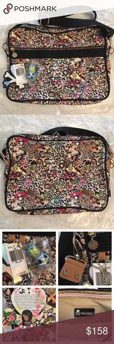 """Tokidoki Imagini Leo Leopard Laptop Notebook Bag BRAND NEW WITH TAGS.  Retail $178. Discontinued, limited edition print! ~ RARE!  Still stored in original plastic bag as seen in photo. Qee keychain is untouched. Definitely a collector's item!  Super cute!! 😍 Fits 15"""" MacBook or any other 15"""" laptop. Perfect school bag to make your friends jealous!  Approximately 15"""" L x 11"""" H x 2.5"""" D Adjustable strap for Crossbody and shoulder wear. tokidoki Bags Laptop Bags"""