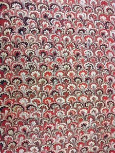 Marbled paper, 65 x 45 cm. Bouquet pattern, made in the Cockerell workshop under Peter Rogers direction. Papeles Decorados: Técnicas tradicionales y creación artística contemporánea. : VII – Halfer y el nuevo marmoleado / Halfer and the new marbling.