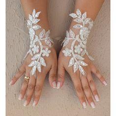 ed9e3b8d2e74 Ivory silver frame Wedding Glove