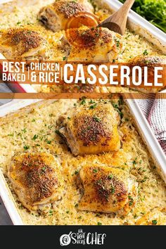 Chicken Thigh And Rice Recipe, Easy Chicken And Rice, Easy Chicken Thigh Recipes Baked, Chicken Rice Bake, Healthy Casserole Recipes, Easy Rice Recipes, Casserole Dishes, Healthy Recipes, Baked Chicken Recipes