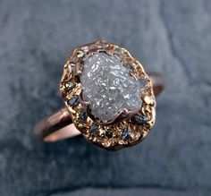Raw Diamond Halo Engagement Ring Rough 14k rose Gold by byAngeline