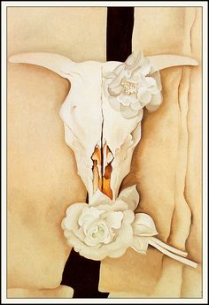 Georgia O'Keeffe American, Cow's Skull with Calico Roses, 1931 Oil on canvas x 61 cm x 24 in.) Alfred Stieglitz Collection, gift of Georgia O'Keeffe, © The Art Institute of Chicago American Art Gallery 265 Georgia O'keeffe, Alfred Stieglitz, Wisconsin, Santa Fe, Georgia O Keeffe Paintings, Crane, Cow Skull, Horse Skull, Illustration