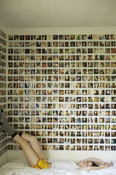 Polaroid walls. This could be part of a really cool teen's room. Each time they have a birthday party, give them a couple of Polaroid cameras & 10 packs of film.