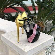Glitter Outfit, Glitter Shirt, Platform High Heels, Sexy High Heels, Platform Mules, Shoe Boots, Shoes Heels, Prom Shoes, Glitter Rosa