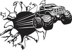 4 x 4 Monster Truck Decal Boys Room Home Decor by BerrysGoods