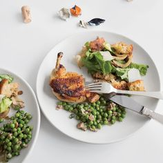Herb-Butter Roast Chicken with Tuscan-Style Bread Salad #dinner #mothersday #lunch