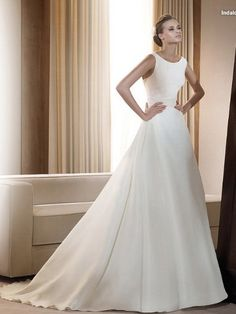 A-line Curved Neckline Taffeta Plain small train lace up wedding dress