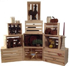 Rustic stacking crates wood retail display homegoods giftshop general store. Retail fixtures stackable crates. http://jbrothersandcompany.com