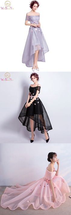 Short Front Long Back Prom Dresses Gray Black Red Pink with Floral Party Gowns Off the Shoulder Evening Dresses