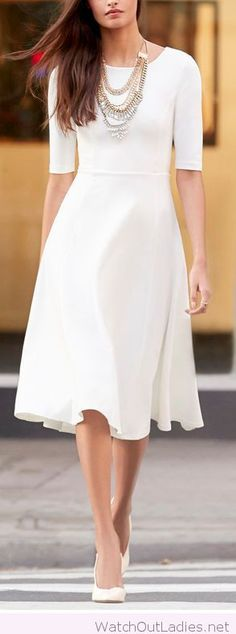 Midi white dress with necklace