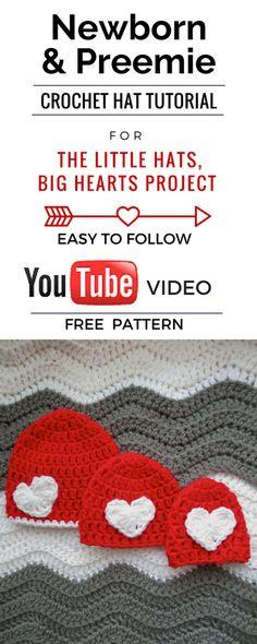 Newborn, Preemie, and Micro Preemie crochet hat tutorial. Little Hats, Big Hearts Project. Free and Easy.