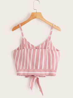 Striped Button Front Knot Hem Cami Top Casual Skirt Outfits, Cute Summer Outfits, Girl Outfits, Cute Outfits, Unique Prom Dresses, Korean Outfits, Cami Tops, Ladies Dress Design, Blouse Designs