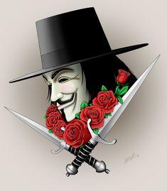 Beautiful Vendetta by ballpointmaster Unicornios Wallpaper, Phone Wallpaper For Men, Hacker Wallpaper, Rose Tattoos, Body Art Tattoos, Sleeve Tattoos, Tatoos, V For Vendetta Tattoo, V Pour Vendetta
