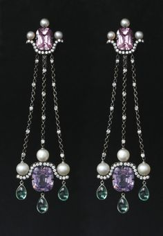 A Pair of Natural Pearl, Tourmaline, Spinel and Diamond Ear Pendants by Nadia Morganthaler