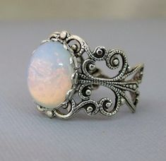 Opal Rings Opal Jewelry October Birthstone by pinkingedgedesigns