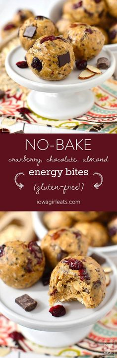 Gluten-free, No-Bake Cranberry Chocolate Almond Energy Bites taste like cookie dough and provide a burst of energy whenever you need it. Make a double batch to stock the freezer with! | iowagirleats.com