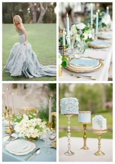 26 Delicate Dusty Blue And Gold Wedding Ideas If you are getting married in the spring or summer and looking for a chic and fresh color combo, I've got an idea for you: try dusty blue and gold! Cornflower Wedding, Blue Gold Wedding, Gold Wedding Colors, Spring Wedding Colors, Gold Wedding Theme, Wedding Color Schemes, Wedding Themes, Wedding Table, Dream Wedding