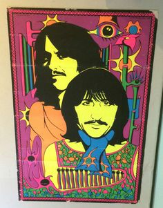 George & Ringo The Beatles Vintage Black Light Poster 1969 Pro Arts