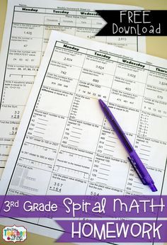 FREE 3rd Grade Common Core Spiral MATH Homework - 2 Weeks Free! with Answer Keys. FREE