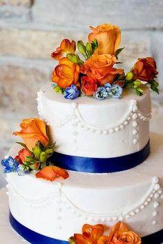 Decoração Casamento Azul e Laranja