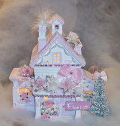 Shabby Chic Christmas Village House / Florist