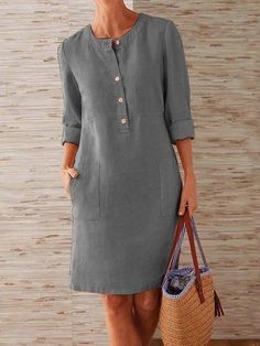 Style: Casual Pattern: Solid Detail: Button, Pockets Front Collar: Round Neck Sleeves Type: Long Sleeves Length: Midi Material:Linen, Cototn Season: Summer, Fall Occasion: Daily Life, Going Out Spring Dresses Casual, Daytime Dresses, Plus Size Dresses, Dresses For Sale, Skinny Jeans Kombinieren, Robes Midi, Long Sleeve Midi Dress, Cotton Skirt, Mode Outfits