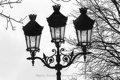 Paris Photography Street Lamps Lanterns Paris Black by KathyFornal