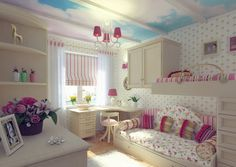 Fascinating Girls Bedroom Design With Bunk And Trundle Beds