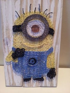 Minion string art. Check us out on Facebook at All Strung Up. https://www.facebook.com/pages/All-Strung-Up/915873695199667?ref=hl