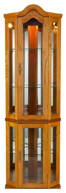 Riley Lighted Corner Curio Cabinet, Golden Oak  Traditional Storage Units And