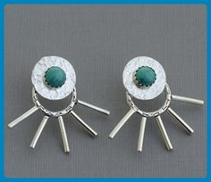Genuine turquoise front back ear jackets, sterling silver spike hoop double sided earrings, post stud mix and match tribal southwestern jewelry - Wedding earings (*Amazon Partner-Link)