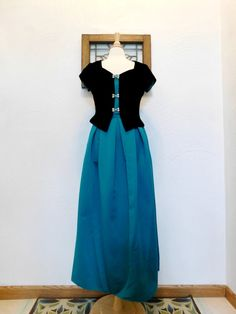 Vintage Evening Gown 1990s Teal & Black Two by RedsThreadsVintage