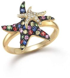 Multi Sapphire and Diamond Starfish Ring in 14K Yellow Gold - 100% Exclusive #jewellery #ring