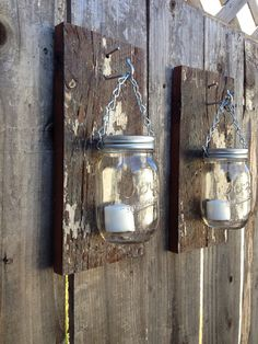 Rustic barn wood mason jar sconces by Thesalvagednail on Etsy