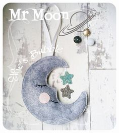 Heather Grey Felt Mr Moon Plush wall decor with by ElfiesBubble